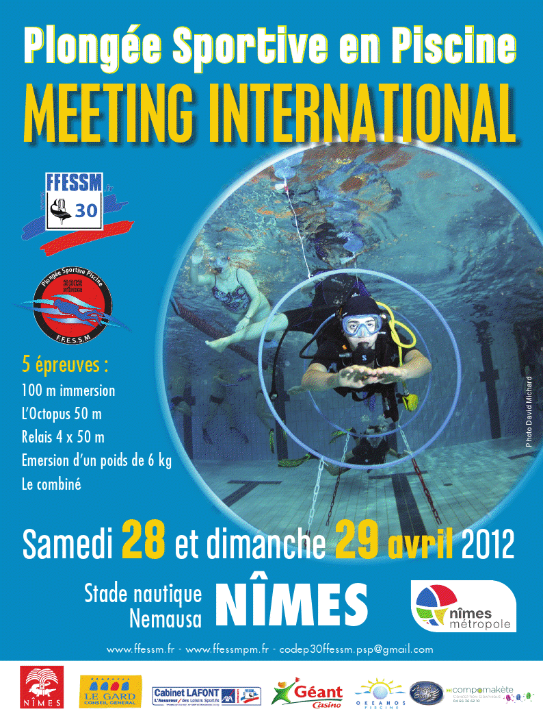 Photo of NÎMES : MEETING INTERNATIONAL PLONGÉE SPORTIVE EN PISCINE, CE SAMEDI 28 ET DIMANCHE 29 AVRIL 2012