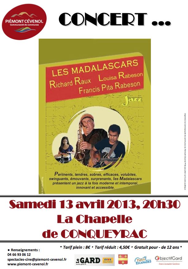 Photo of CONQUEYRAC Concert de jazz avec « Les Madalascards », ce samedi 13 avril 2013 à la Chapelle