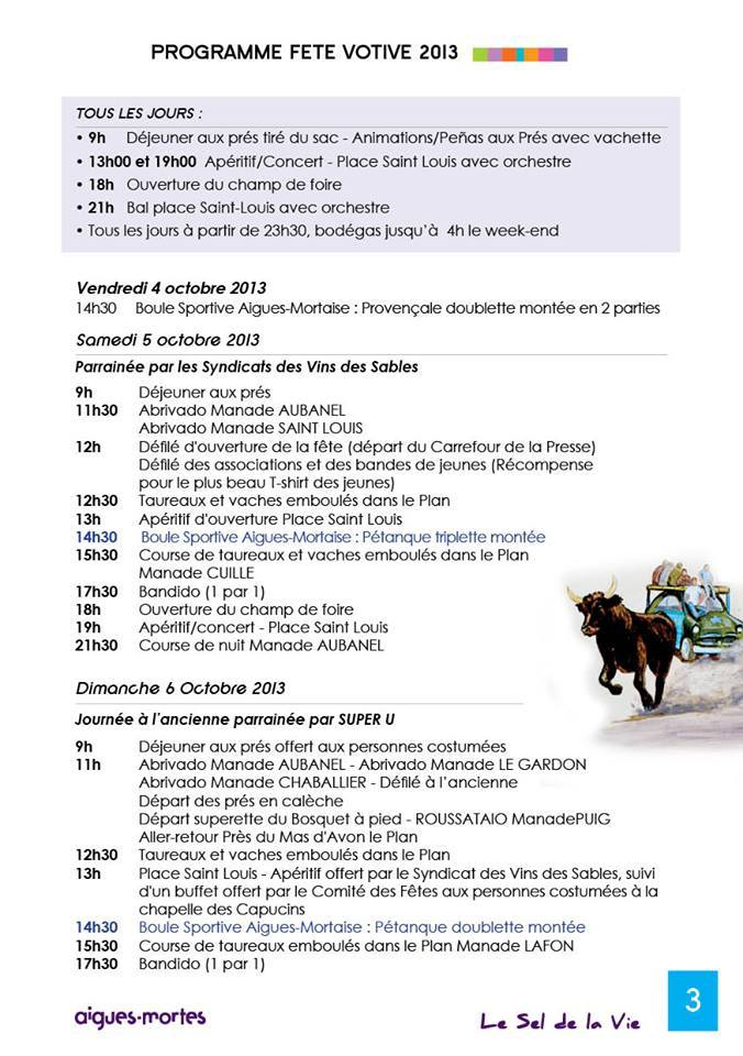Photo of AIGUES-MORTES Fête votive, du 05 au 16 octobre 2013, programme complet !