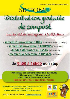 Photo of UZÈS Distribution gratuite de compost, ce samedi 23 novembre 2013 !