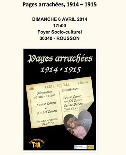 Photo of ROUSSON Spectacle « Pages Arrachées » par la Cie T2A, ce dimanche 06 avril 2014