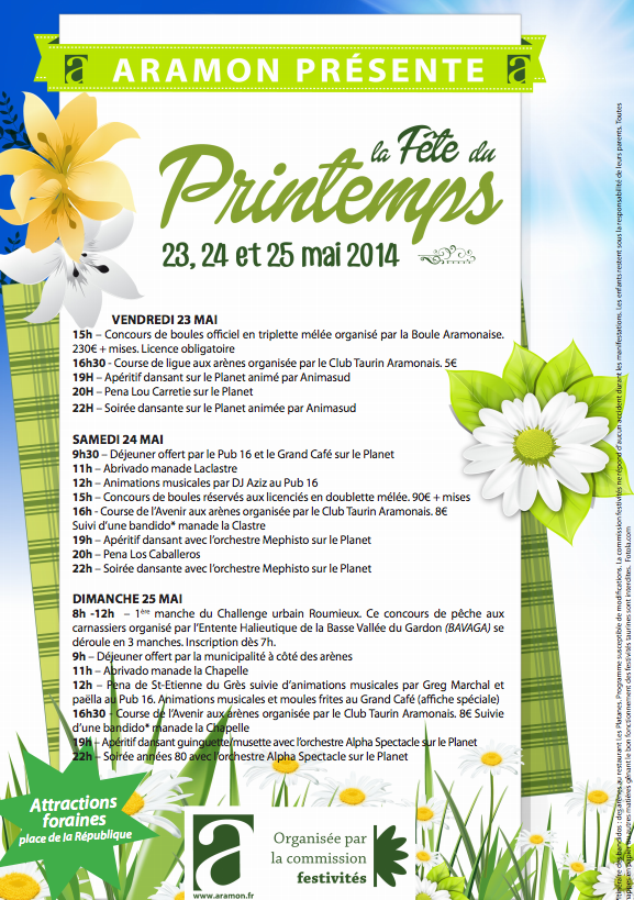 Photo of ARAMON La fête du printemps, du 23 au 25 mai 2014, programme complet !
