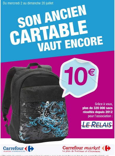 Photo of BAGNOLS Le Relais et Carrefour Market collectent les cartables