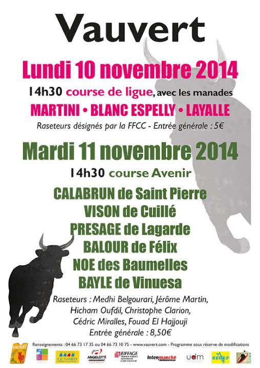 Photo of VAUVERT Courses taurines, ce lundi 10 et mardi 11 novembre 2014
