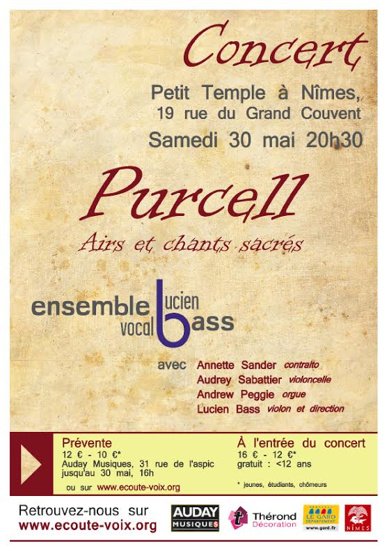 Photo of NÎMES Concert Purcell Airs et chants sacrés ce samedi 30 mai 2015