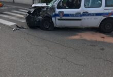 Photo of L'IMAGE Accident entre un bus et une voiture de la police municipale